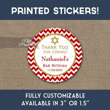 Bar Mitzvah Stickers Red Gold Thank You Favors PRINTED