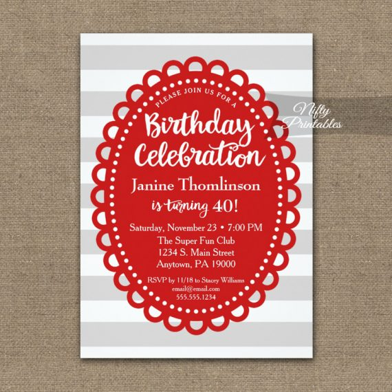 Birthday Invitation Red Gray Wide Stripe PRINTED