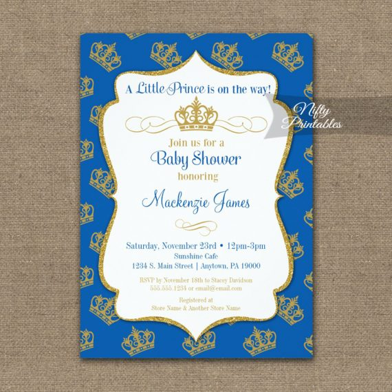 Royal Prince Baby Shower Invitation Blue Gold Crowns PRINTED