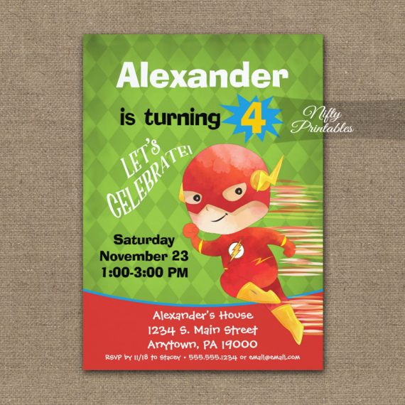 Superhero Birthday Invitation Kids PRINTED