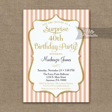 Peach Gold Surprise Party Invitation Elegant Stripe PRINTED