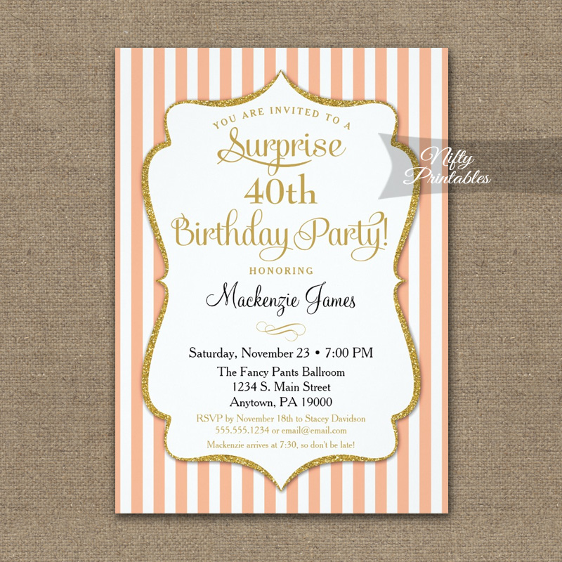 peach gold surprise party invitation elegant stripe