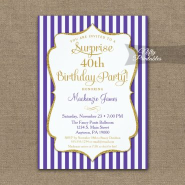 Purple Gold Surprise Party Invitation Elegant Stripe PRINTED