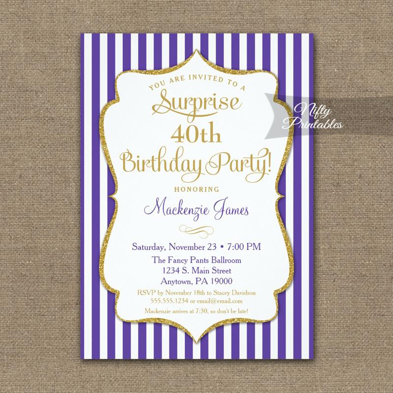 purple gold surprise party invitation elegant stripe printed nifty