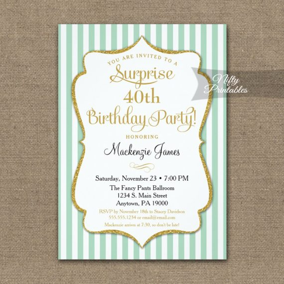 Mint Green Gold Surprise Party Invitation Elegant Stripe PRINTED