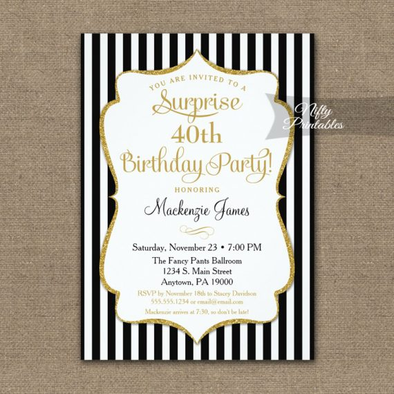 Black Gold Surprise Party Invitation Elegant Stripe PRINTED