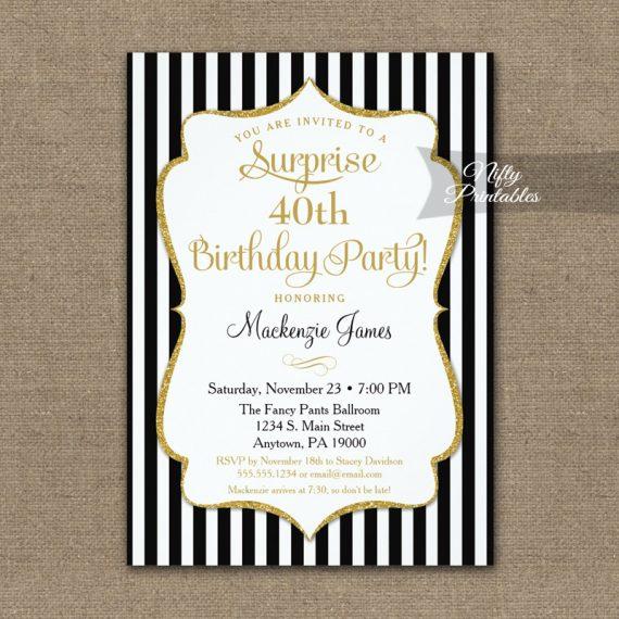 Black Gold Surprise Party Invitation Elegant Stripe PRINTED