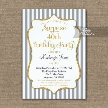 Gray Gold Surprise Party Invitation Elegant Stripe PRINTED