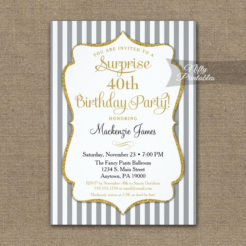 Gray Gold Surprise Party Invitation Elegant Stripe PRINTED