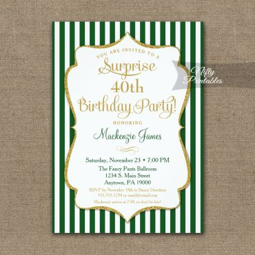 Green Gold Surprise Party Invitation Elegant Stripe PRINTED