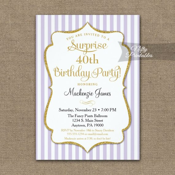 Lavender Lilac Gold Surprise Party Invitation Elegant Stripe PRINTED