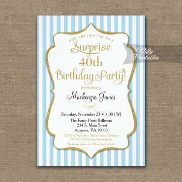 Light Blue Gold Surprise Party Invitation Elegant Stripe PRINTED