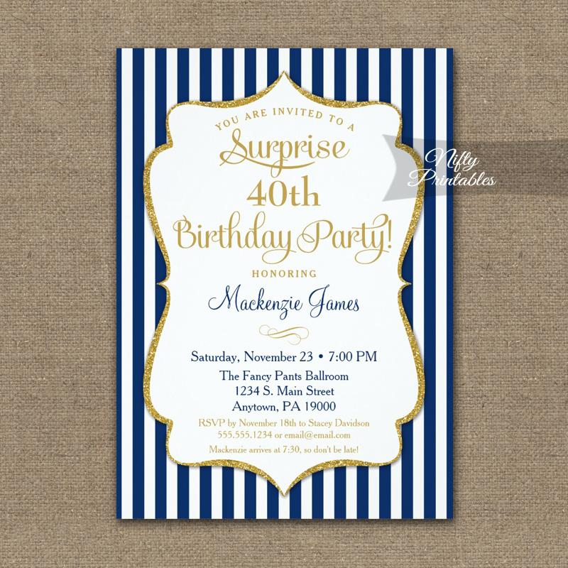 Navy Blue Gold Surprise Party Invitation Elegant Stripe PRINTED