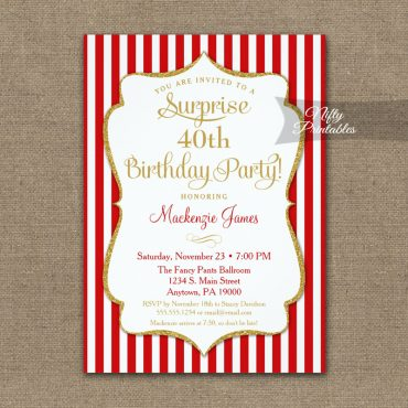 Red Gold Surprise Party Invitation Elegant Stripe PRINTED