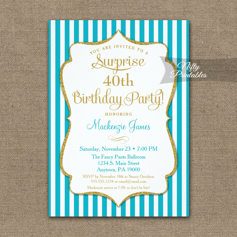Turquoise Gold Surprise Party Invitation Elegant Stripe PRINTED