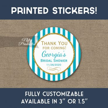 Bridal Shower Stickers Turquoise Aqua Gold Thank You Favors PRINTED