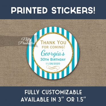 Birthday Stickers Turquoise Aqua Gold Thank You Favors PRINTED