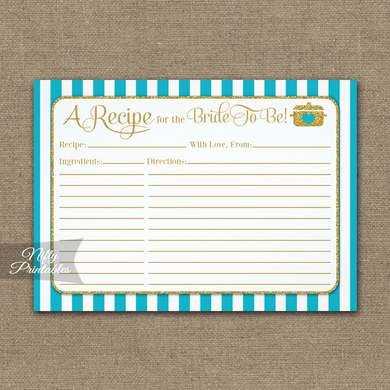 Bridal Recipe Cards Turquoise Gold PRINTED