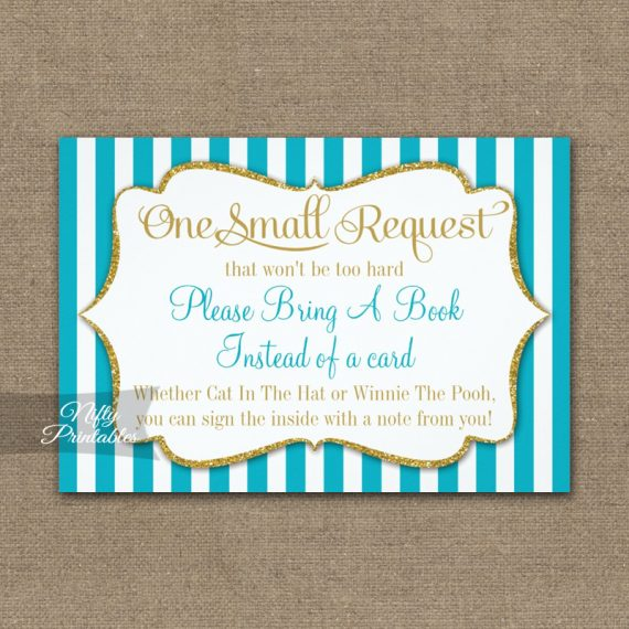Bring A Book Insert Turquoise Aqua Gold Baby Shower PRINTED