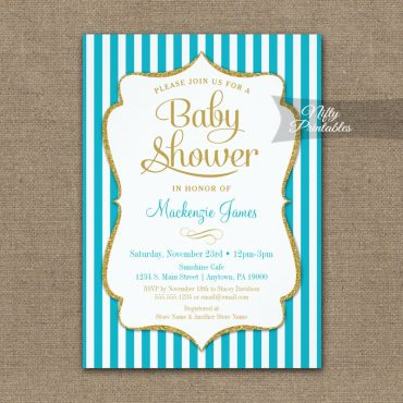 Baby Shower Invitation Turquoise Aqua Gold PRINTED