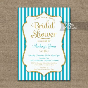 Bridal Shower Invitation Turquoise Aqua Gold PRINTED