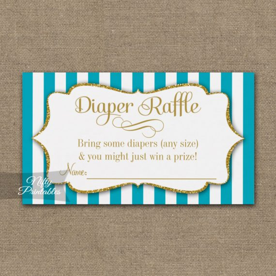 Diaper Raffle Turquoise Aqua Gold Baby Shower PRINTED