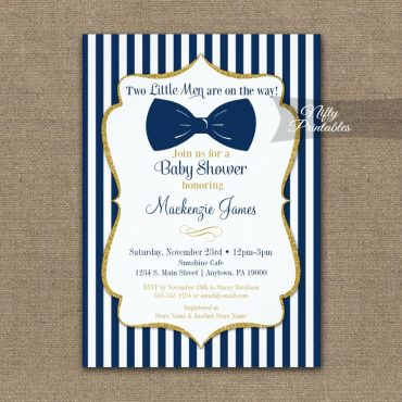 Twin Boys Baby Shower Invitations Navy Blue Gold Bow Tie  PRINTED