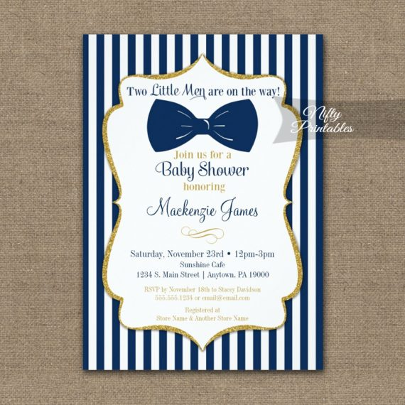 Twin Boys Baby Shower Invitation Navy Blue Gold Bow Tie  PRINTED
