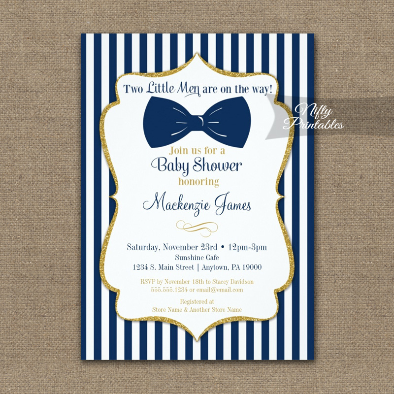 Twin Boys Baby Shower Invitation Navy Blue Gold Bow Tie PRINTED ...