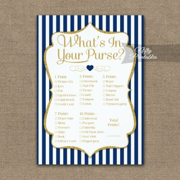 What's In Your Purse Game Navy Blue Gold PRINTED