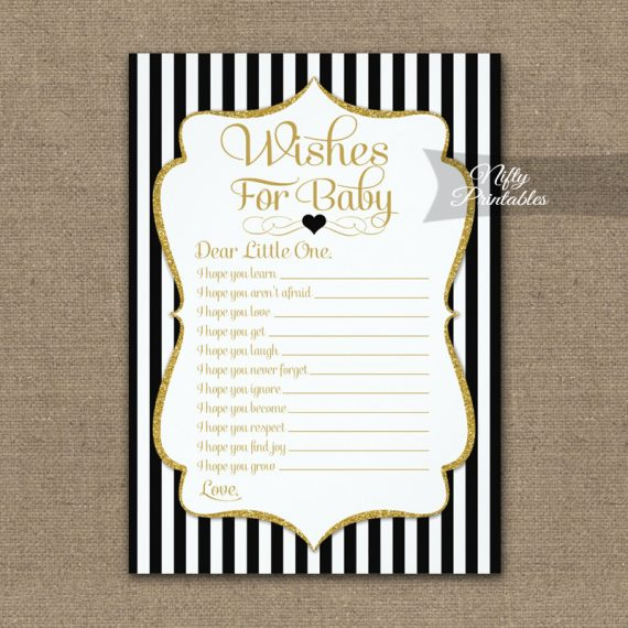 Wishes For Baby Game Black Gold PRINTED
