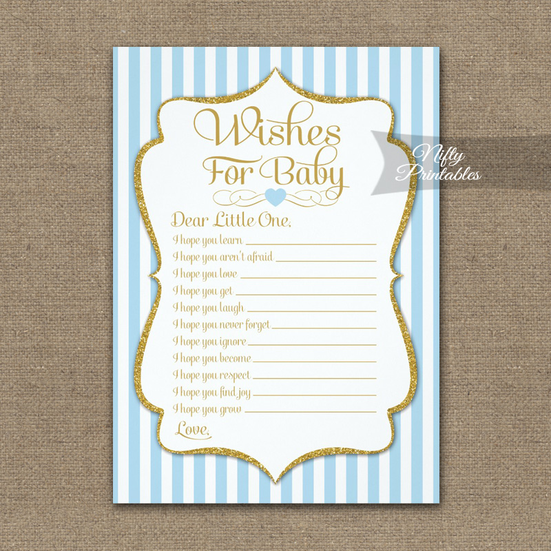 Wishes For Baby Game Light Blue Gold PRINTED