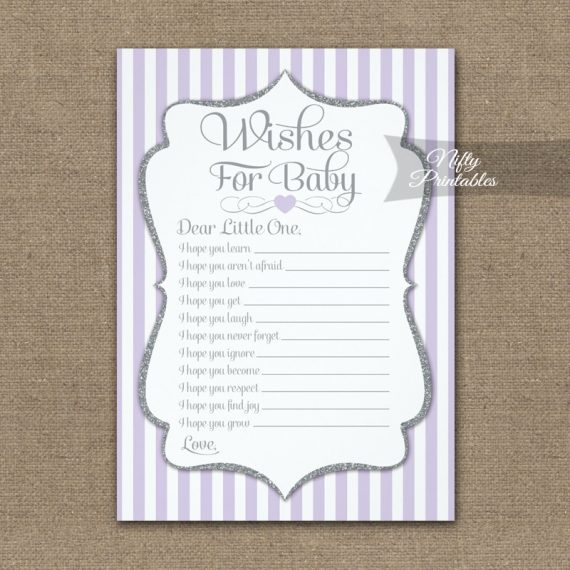 Wishes For Baby Game Lilac Lavender Gray PRINTED