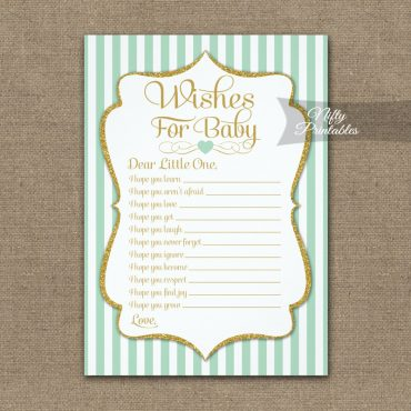 Wishes For Baby Game Mint Green Gold PRINTED