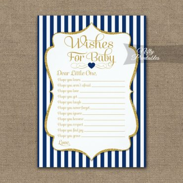 Wishes For Baby Game Navy Blue Gold PRINTED