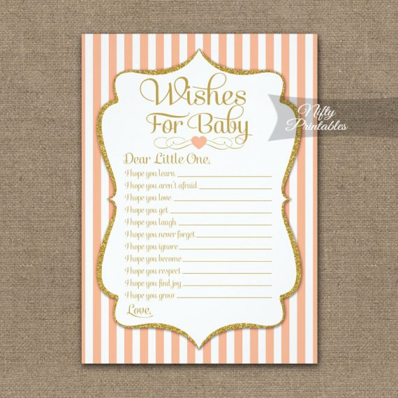 Wishes For Baby Game Peach Gold PRINTED