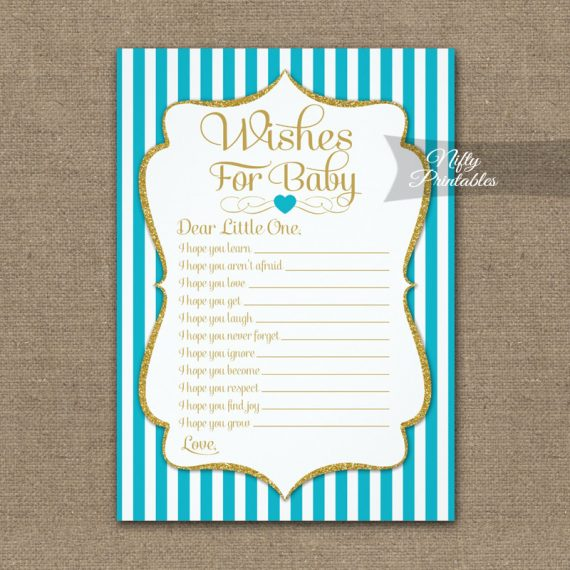 Wishes For Baby Game Turquoise Gold PRINTED