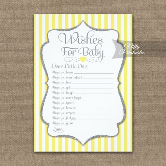 Wishes For Baby Game Yellow Gray PRINTED