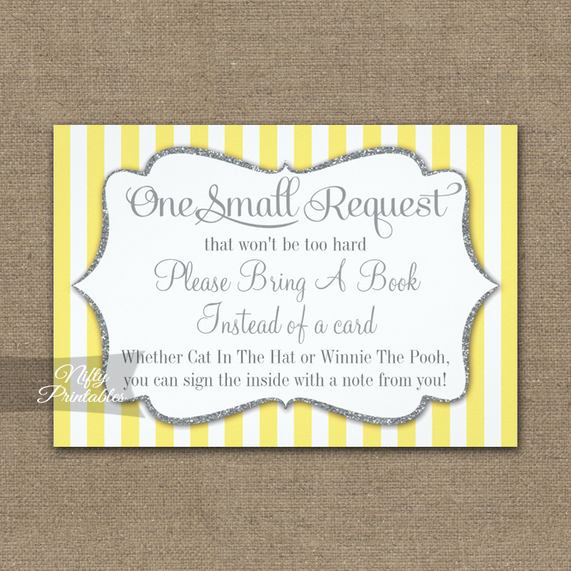 Bring A Book Insert Yellow Gray Baby Shower PRINTED
