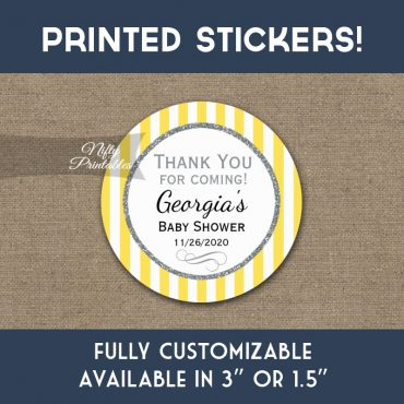 Baby Shower Stickers Yellow Gray Thank You Favors PRINTED