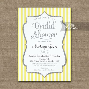 Bridal Shower Invitation Yellow Gray PRINTED