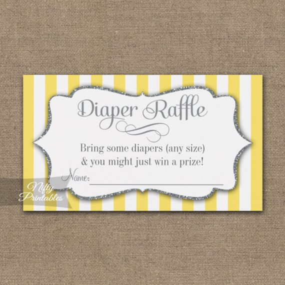 Diaper Raffle Yellow Gray Baby Shower PRINTED