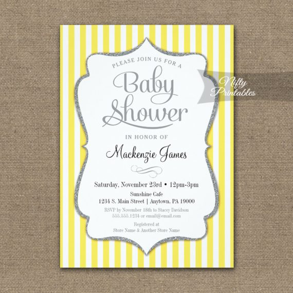 Yellow Gray Baby Shower Invitation Elegant Stripe PRINTED