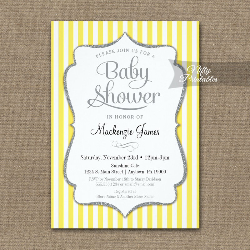 Yellow gray baby shower invitation elegant stripe printed nifty yellow gray baby shower invitation elegant stripe printed filmwisefo