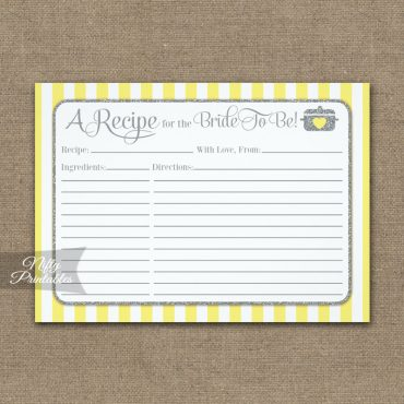 Bridal Recipe Cards Yellow Gray PRINTED