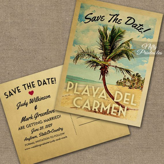 Playa Del Carmen Save The Date Palm Tree PRINTED
