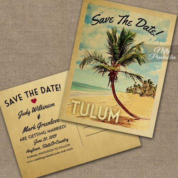 Tulum Save The Date Palm Tree PRINTED