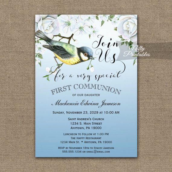 First Communion Invitation Blue Bird Nature PRINTED