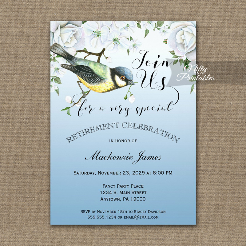 Retirement Invitation Blue Bird Nature PRINTED - Nifty ...