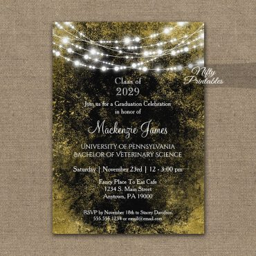 Graduation Invitation Black Gold Lights PRINTED